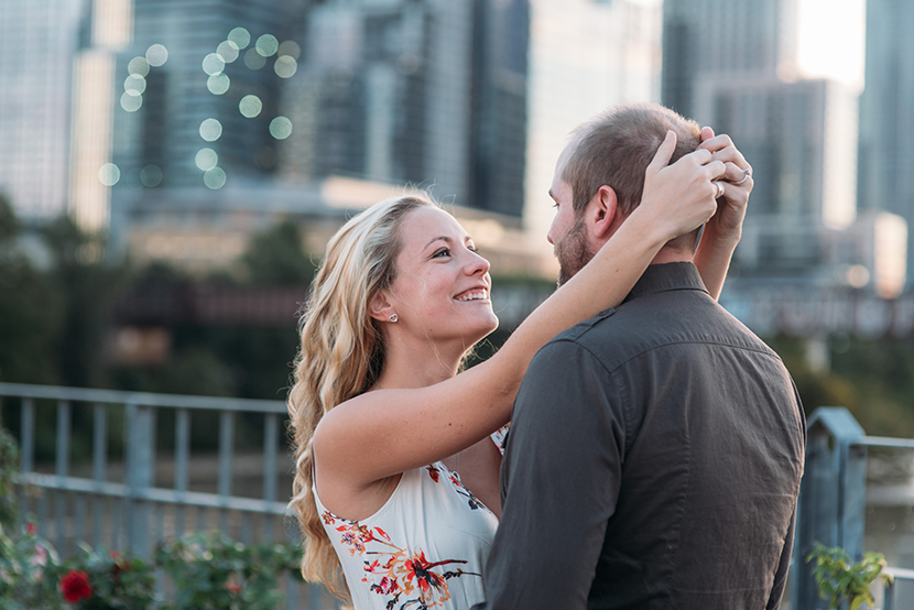 happy couple taking engagement pictures