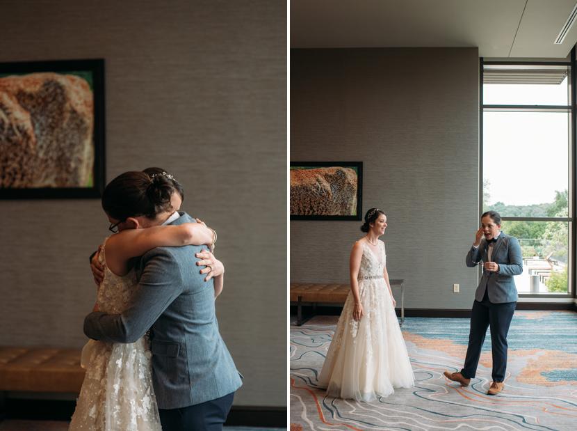same sex first look wedding