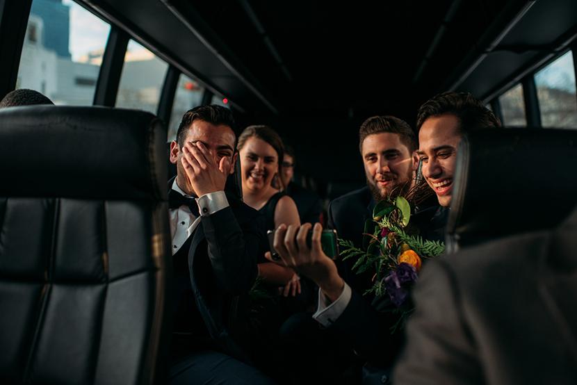 groomsmen reacting