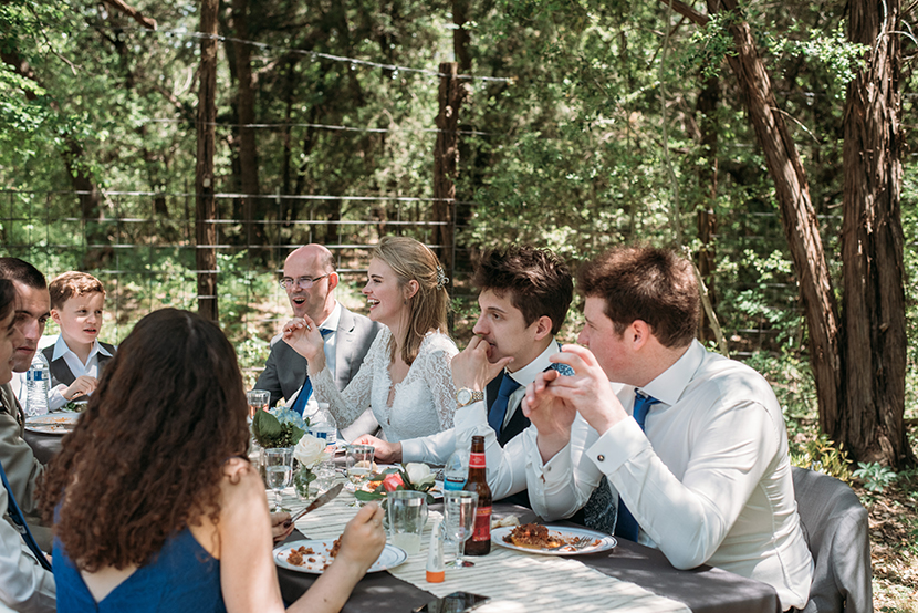 family style dining at a backyard wedding
