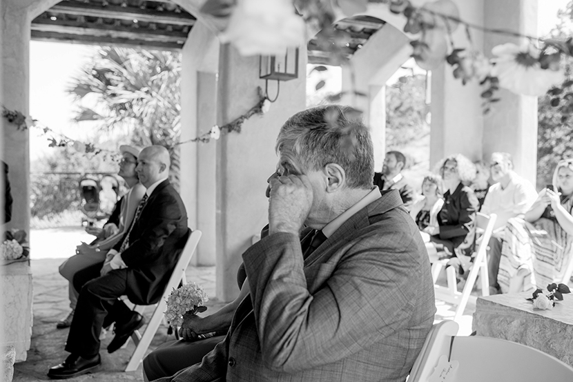 father sheds a tear during wedding ceremony