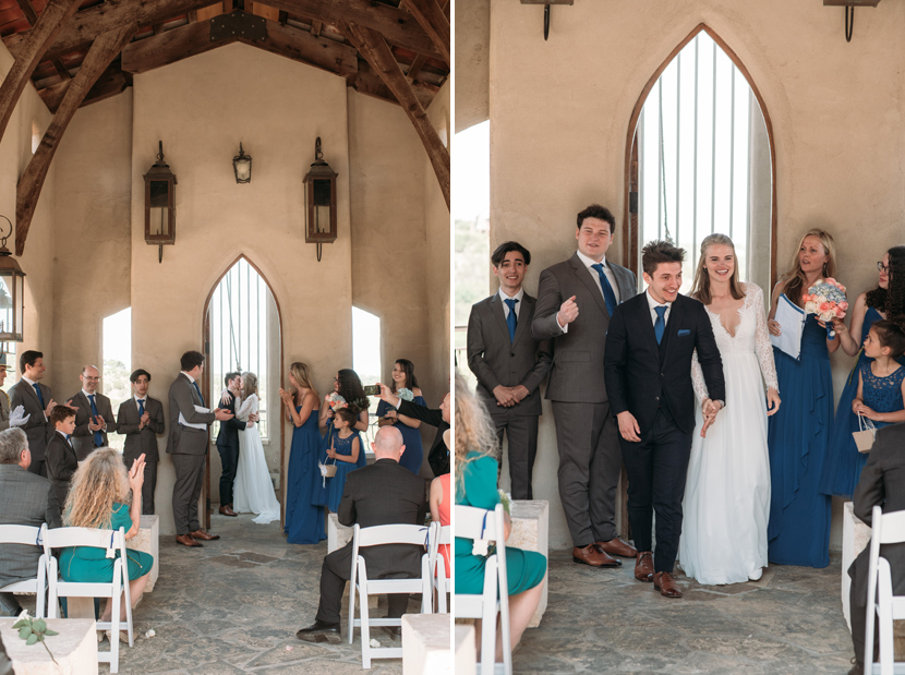 couple rings the bell at chapel dulcinea