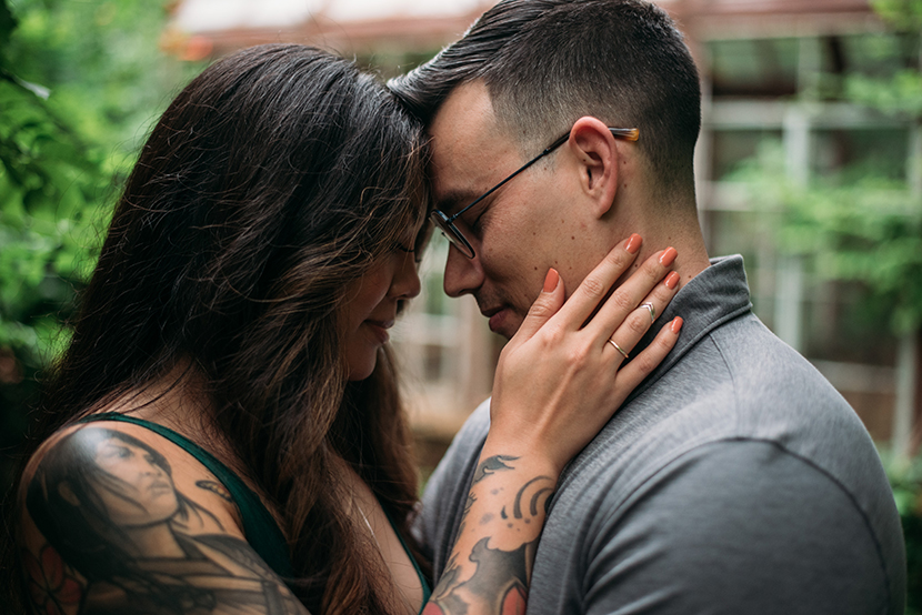 tattooed couple celebrating marriage
