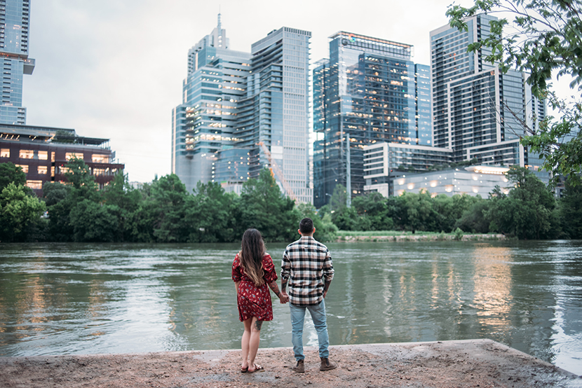 couple looking out at austin skyline
