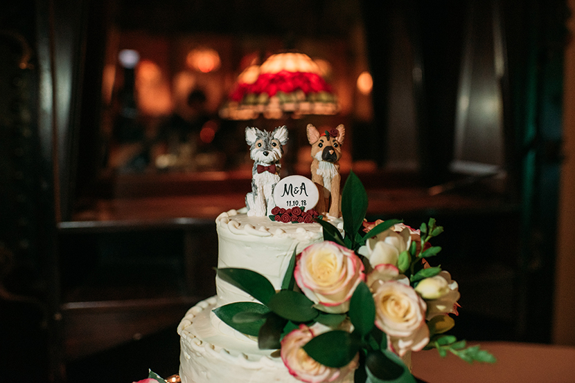 wedding cake with dog toppers
