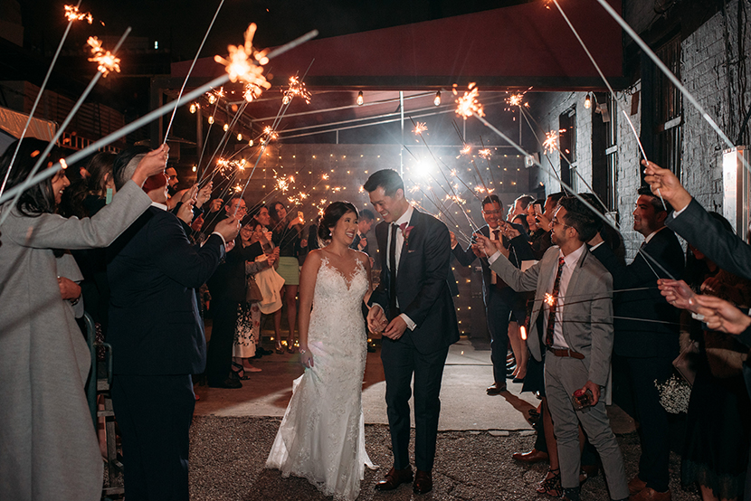 sparkler exit at a houston wedding