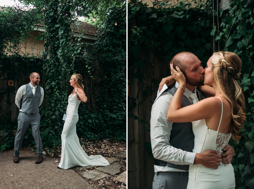 groom reacts to seeing his bride for the first time